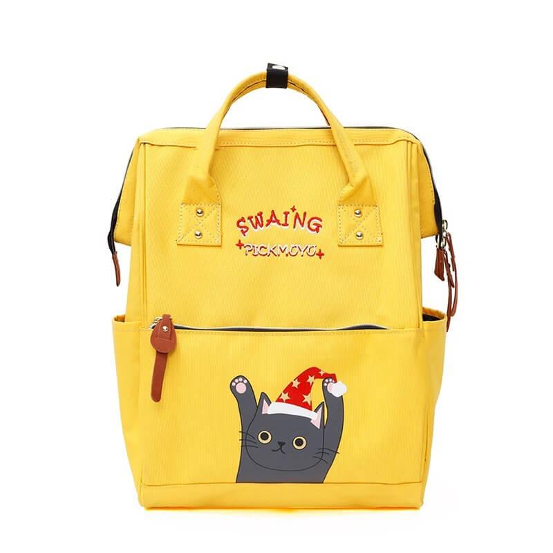 Ba lô học sinh nữ hình mèo dễ thương vải canvas Angel 2393