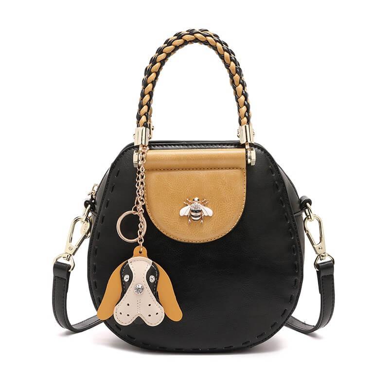 Túi đẹp đeo chéo phom dáng tròn quai xách bện pha màu D.Doo 2307