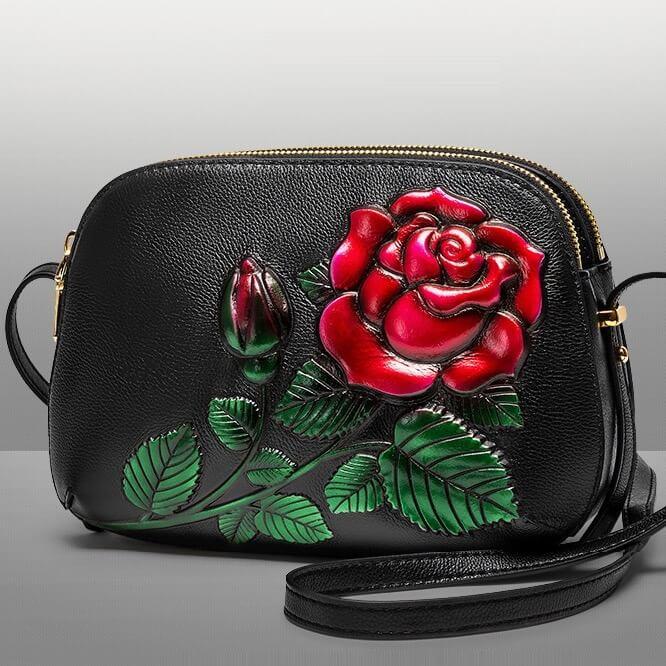 Túi xách trung niên da bò cao cấp dập 3D hoa hồng XM 2442